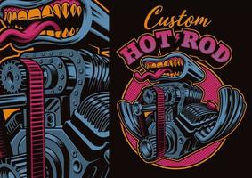 motor de hot rod de dibujos animados con boca vector