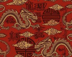 Seamless pattern in Asian style with dragons vector