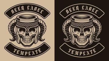 plantilla de etiqueta de jarra de cerveza vikinga vector