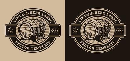 emblema de cerveza vintage con barril de cerveza vector