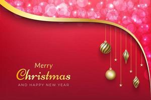 Christmas background with pink bokeh, gold ribbon and ornaments