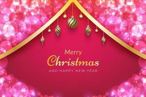 Fondo de navidad con cinta dorada, adornos y bokeh rosa.