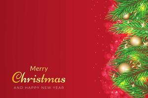 Christmas background with tree branches and golden ornaments