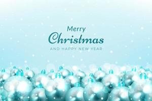 Christmas celebration background with snow and blue ornaments