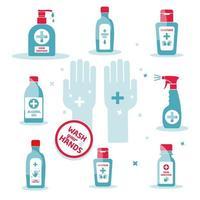 Hand sanitizer symbol, alcohol bottle for hygiene set