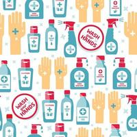Hand sanitizer, alcohol bottle for hygiene seamless pattern