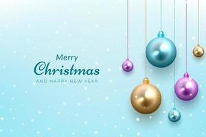 Christmas celebration background with snow and colorful ornaments vector