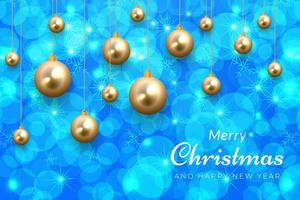 Blue Christmas celebration background with gold ornaments vector