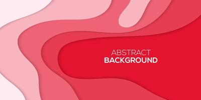 Abstract red and pink papercut style wavy layers design vector