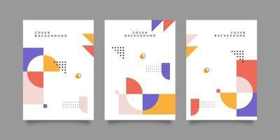 Set of Retro Geometric Shape Covers vector