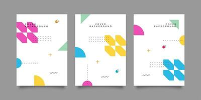 Playful memphis style cover templates vector