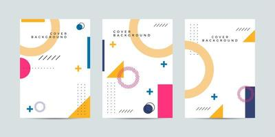 Colorful covers with abstract shapes in memphis style vector