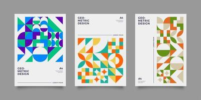 Colourful abstract geometric shape annual report templates vector