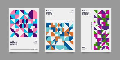 Retro geometric covers set with vintage colour vector