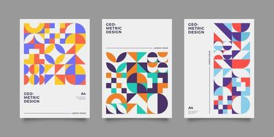 Colourful geometric shape abstract annual report set vector