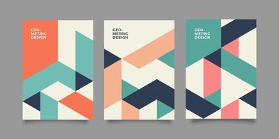 Modern annual report template with geometric shapes vector