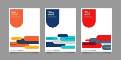 Geometric business annual report flyer template set vector