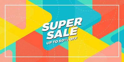 Bright Overlapping Triangle Super Sale Design vector