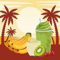 Bebida de frutas tropicales y batidos con palmeras. vector