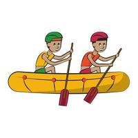 Two men in boat with oars vector
