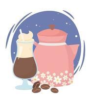 Composición de la hora del café con bebida y cafetera.