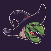 Halloween witch head design vector