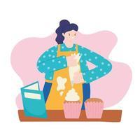 Woman baking cupcakes with recipe book vector