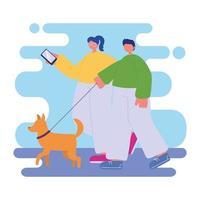 pareja paseando al perro