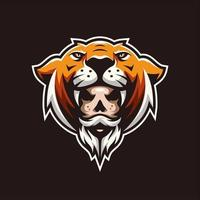 Tiger head with man's face design vector