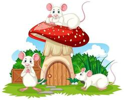 Mushroom house with three mouses vector