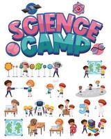campamento de ciencias y conjunto de niños. vector