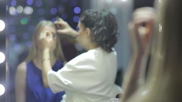stylist make-up maken van een mooi jong model video