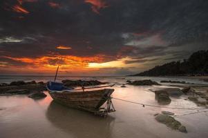 fishing boat old style at Lan Hin Khao Beach, Rayong,