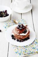 stack of pancakes with berries photo