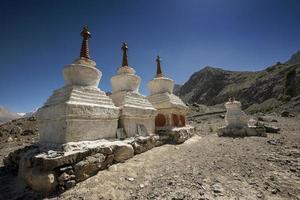 Buddhist stupas near Diskit Monastery, Ladakh, India - September 2014