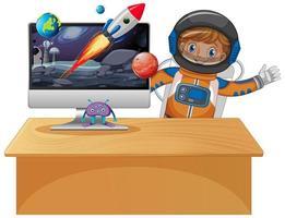 computadora con escena espacial y niño astronauta vector