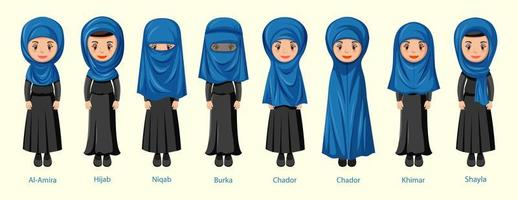 Types of Islamic traditional veils of female vector