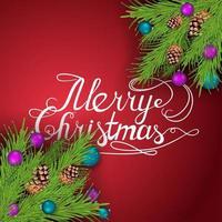 feliz navidad, postal de felicitación roja