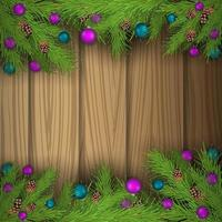 Christmas blank template with wooden background vector