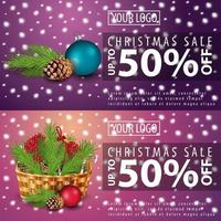 Set of Christmas discounts banners vector