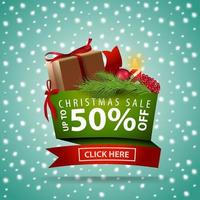 Christmas discount banner made of ribbons