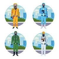 grupo de trabajadores con trajes protectores contra virus