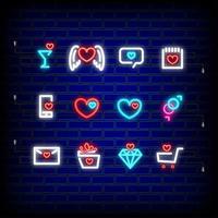 Neon happy Valentines Day icons set vector