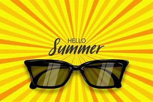 Summertime sunglasses halftone rays pop art vector