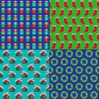 calcetines de navidad, regalos, casas y patrones de coronas vector