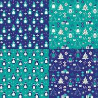 patrones de navidad pingüino vector