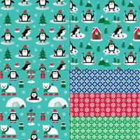Penguin, polar bear, and snowflake patterns vector