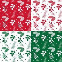 patrones de piña y acebo verde rojo blanco vector