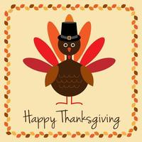 Happy Thanksgiving design with turkey and leaf border