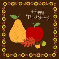 gráfico de frutas de acción de gracias feliz con borde de girasol